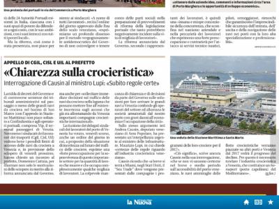 La Nuova Venezia: Interrogazione al Min. Lupi sulla crocieristica a Venezia
