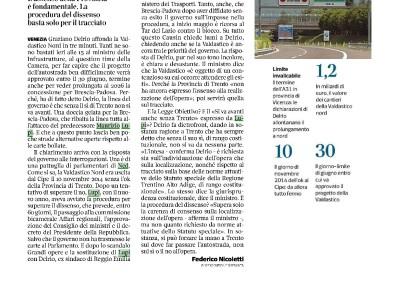 Corriere del Veneto: Del Rio affonda la Valdastico Nord