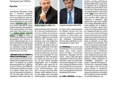 Giornale di Vicenza: Del Rio gela la Valdastico Nord
